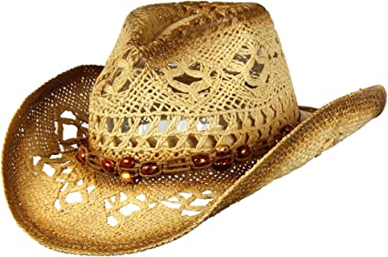 Saddleback Hats Shapeable Toyo Straw Cowboy Hat w/Beaded Trim Band, Western  Cowgirl, Natural, One Size at Amazon Women's Clothing store