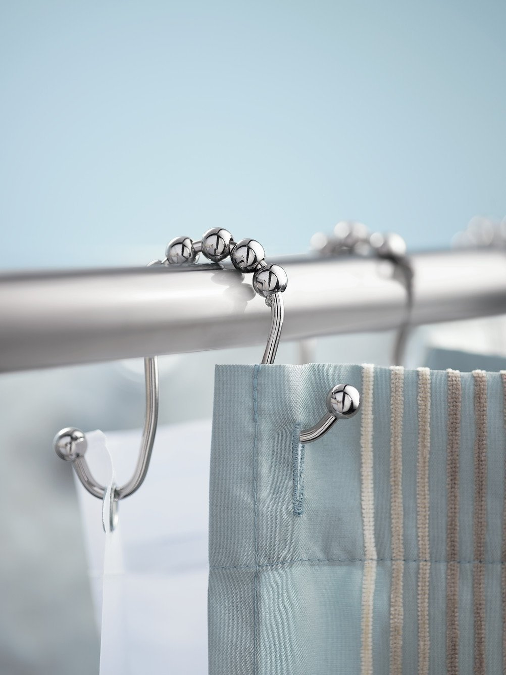 Wimaha Rustproof Shower Curtain Rings Stainless Steel Heavy Duty Roller Double Glide Hooks For Bathroom Rods Curtains Liners Polished Chrome