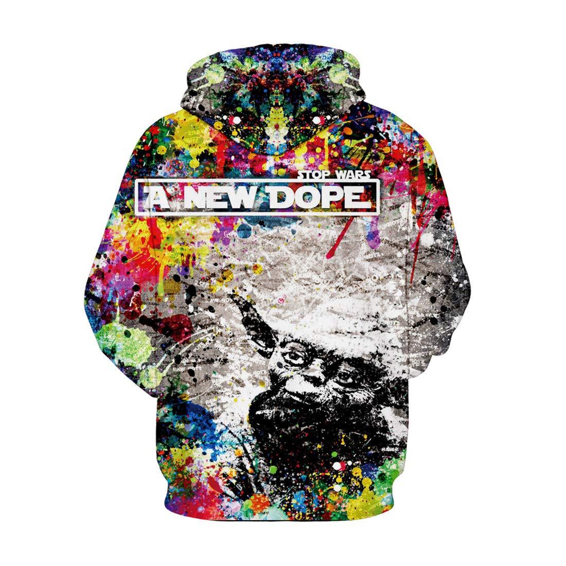JJCat Mens Long Sleeve 3D Digital Print Cartoon Colorful Paints Patchwork Pullover Hoodies Sports Loose Fit Hoodies