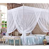 Nattey 4 Corners Princess Bedding Curtain Canopy Mosquito Netting Canopies Twin Full Queen California King Pink Yellow White Purple Colors! (Twin, White)