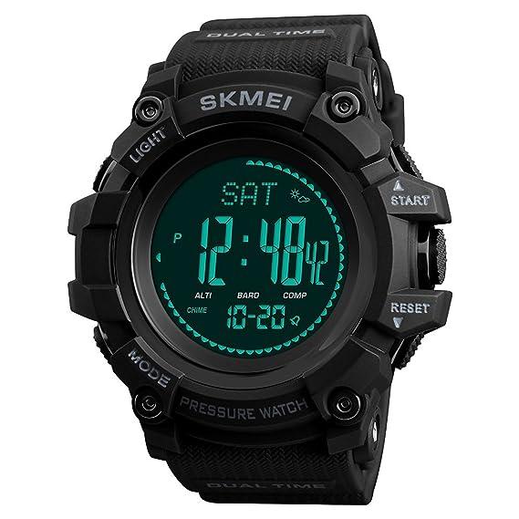 LBJ- Reloj de pulsera digital para hombre, para actividades al aire libre, con podómetro de brújula, alarma, barómetro, resistente al agua: Amazon.es: ...
