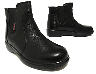 Oil & Slip Resistant Genuine Leather Pull On Work Boots For Women