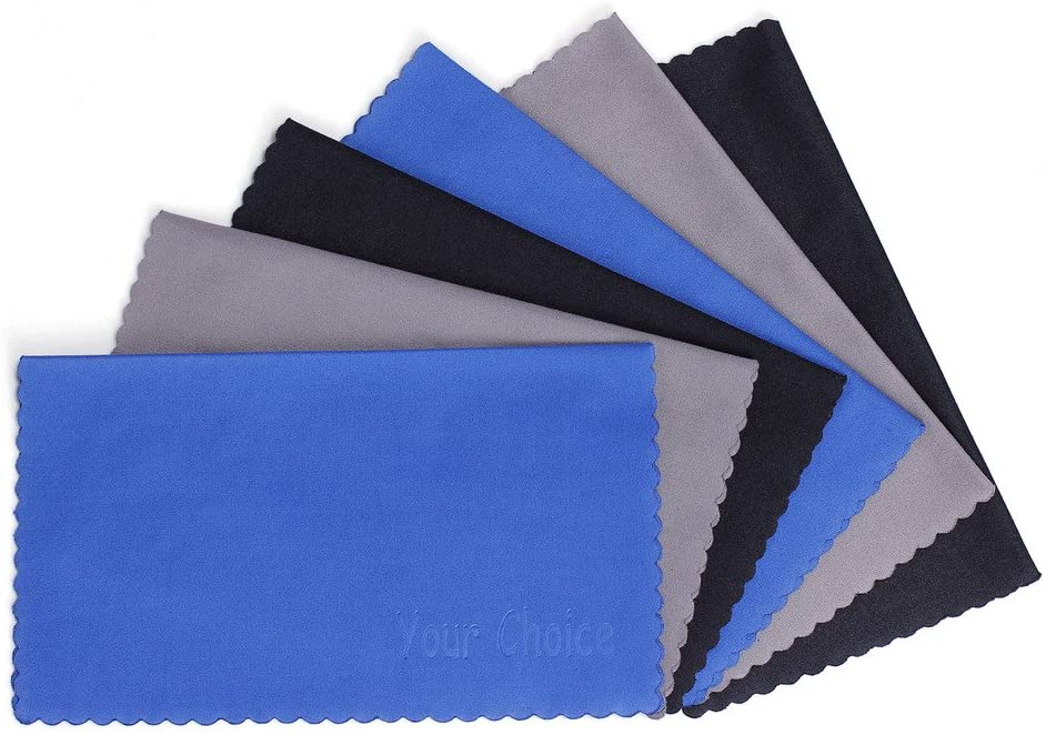 Your Choice Microfiber Cleaning Cloths 6 Pack for Eyeglasses, Camera Lens, Cell Phones, CD, DVD, Computers, Tablets, Laptops, Telescope, LCD Screens and Other Delicate Surfaces Cleaner