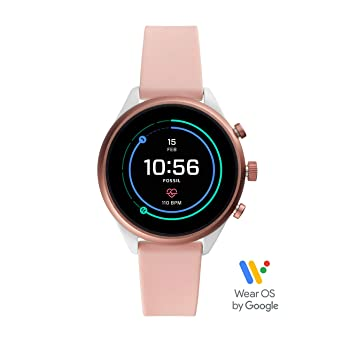 5bd6cf725 Fossil Women's Gen 4 Sport Heart Rate Metal and Silicone Touchscreen  Smartwatch, Color:Blush