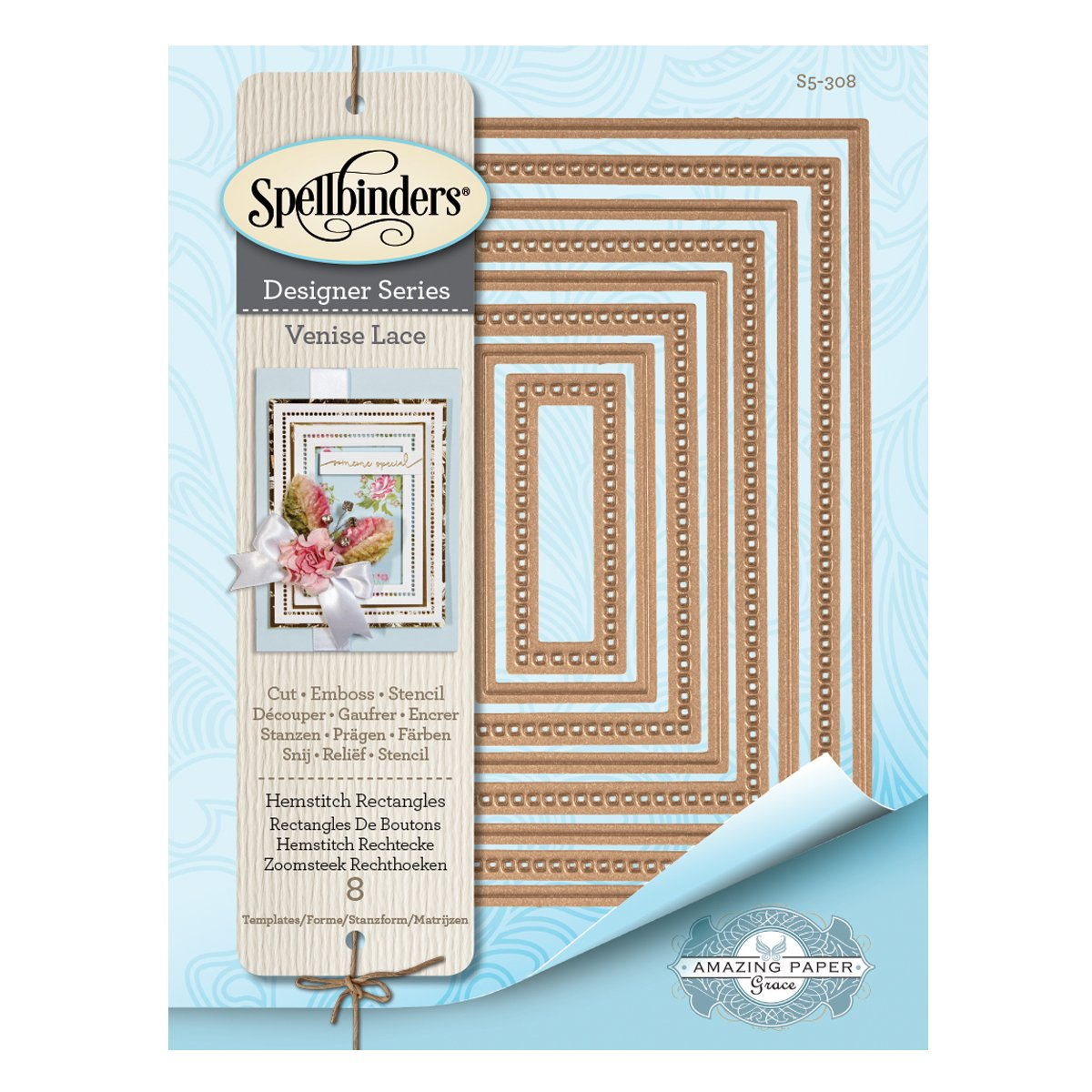 Spellbinders Nest Abilities Hemstitch Rectangles Etched//Wafer Thin Dies