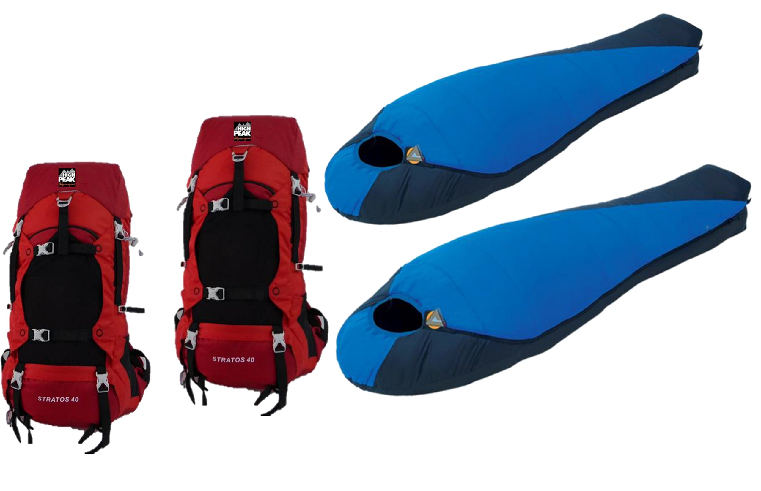 High Peak USA Alpinizmo 2 Stratos 40 Pack & 2 Extreme Pak 0F Sleeping Bags Combo Set, Red/Blue, One Size by Alpinizmo