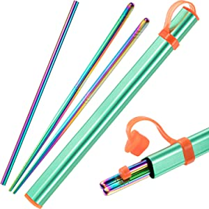 Norme Stainless Steel Chopsticks Metal Chopsticks Reusable Chopsticks Portable Set with 8.5 Inch Drinking Metal Straws, Aluminum Travel Carrying Case and Brush (Multicolor)