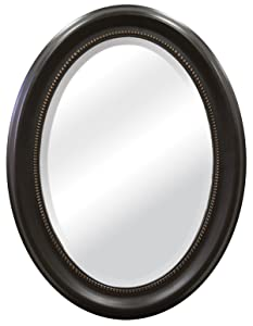 MCS Beaded Oval Wall Mirror, 22.5x29.5 Inch Overall Size, Bronze (47383)