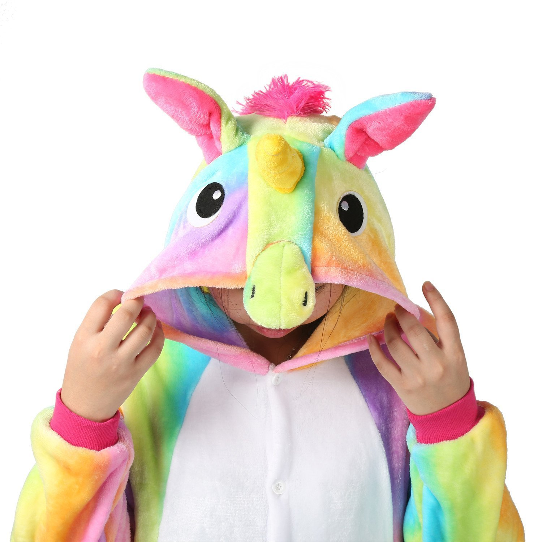 OUTLETISSIMO/® Pigiama Unicorno Arcobaleno Cosplay Carnevale Tuta in Pile Pelliccia SINTENTICA Anime Notte Large 168-178CM