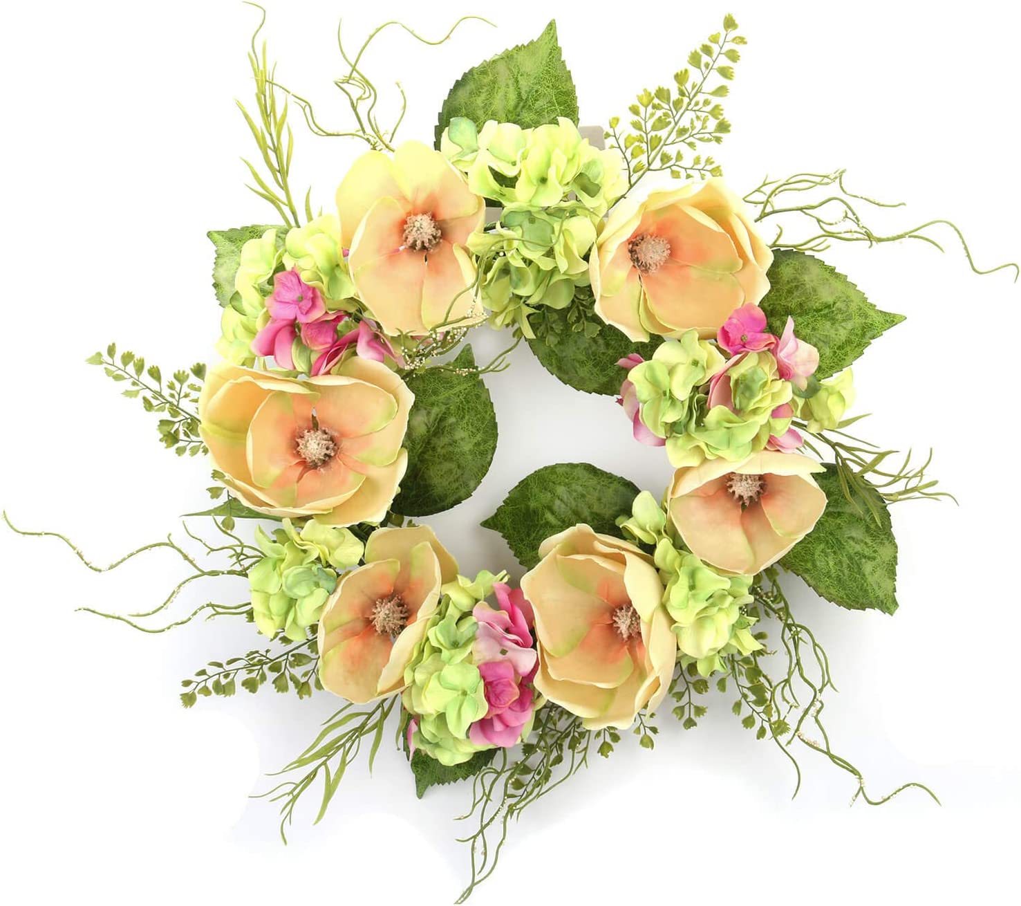 Cloris Art Summer Wreath for Front Door, 22 Inch Artificial Spring Wreath for Home Festival Wedding Party Farmhouse Outdoor Decor(Magnolia Hydrangea)