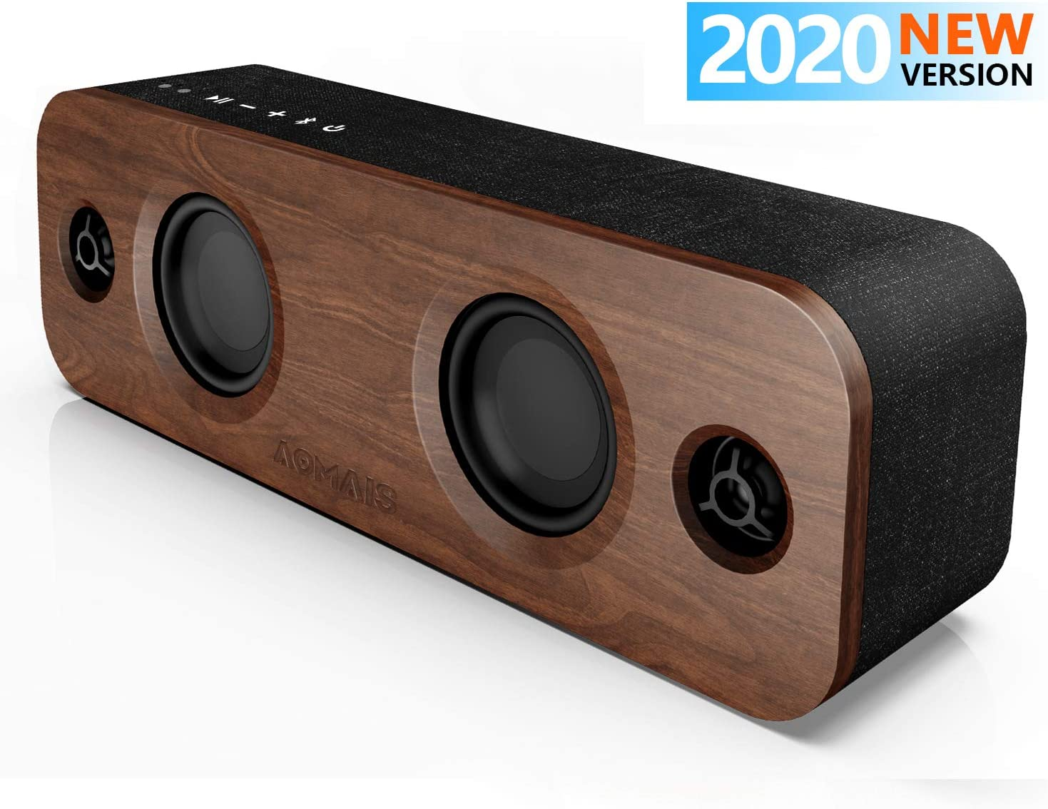 AOMAIS Life Bluetooth Speakers, 30W Loud Home Party Wireless Speaker, 2 Woofer and 2 Tweeters for Deeper Bass Stereo Sound, 100 Ft Bluetooth V5.0 and 12-Hour Playtime Subwoofer, Imitation Wood Panel