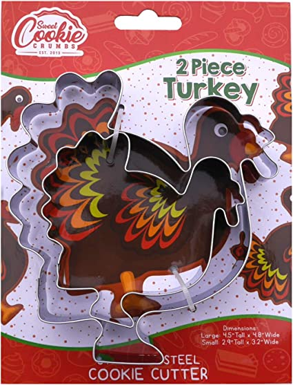 Amazon Com Turkey Cookie Cutter Set 2 Piece 4 5 2 9 Tall Stainless Steel Kitchen Dining