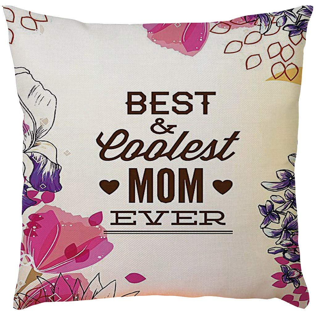 2019,EOWEO Happy Mother's Day Sofa Bed Home Decoration Festival Pillow Case Cushion Cover(43cm×43cm,D)