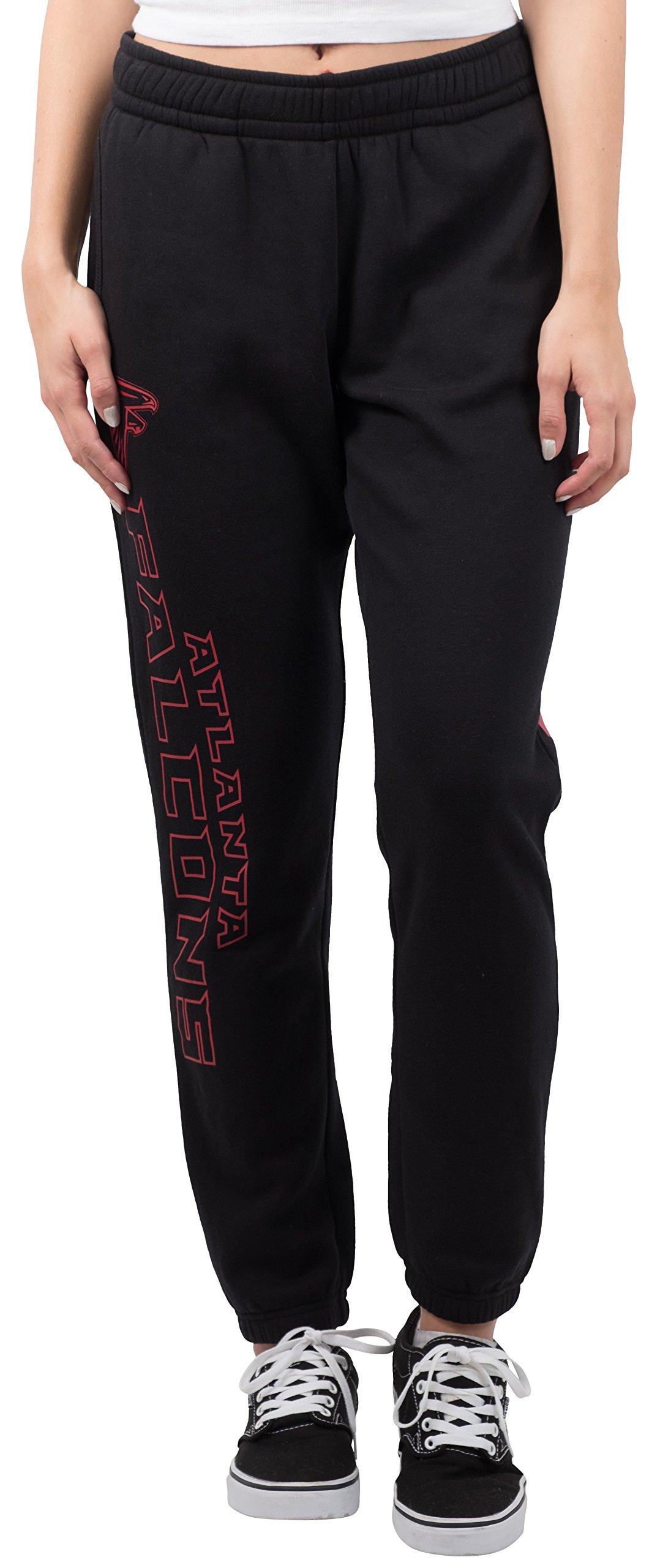 Ultra Game NFL Atlanta Falcons Women's Relax Fit Fleece Jogger Sweatpants, Large, Black