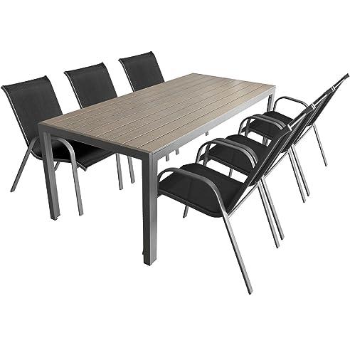 7-teiliges Gartenmöbel Set Aluminium Polywood Gartentisch 205x90cm ...