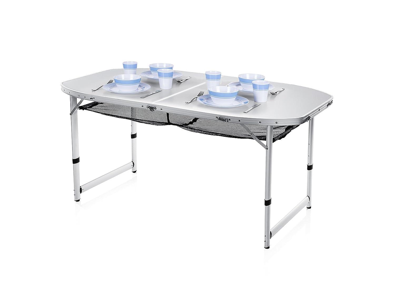 Campart Campingtisch/ Reisetisch - 150 x 80 cm wetterBesteändige Rolltischfläche aus Aluminium/ höhenverstellbar/ mit Verstaunetz, TA-0795