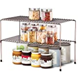 WOSOVO Expandable Stackable Cabinet Shelf Kitchen Counter Rack Organizer Multipurpose Pantry Bedroom Bathroom Storage…