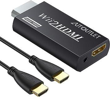 AUTOUTLET Convertidor de Wii a HDMI Adaptador de Wii a HDMI Adaptador de Convertidor HD HDTV con Audio de 3,5 mm Se/ñal Wii a 720p y 1080p