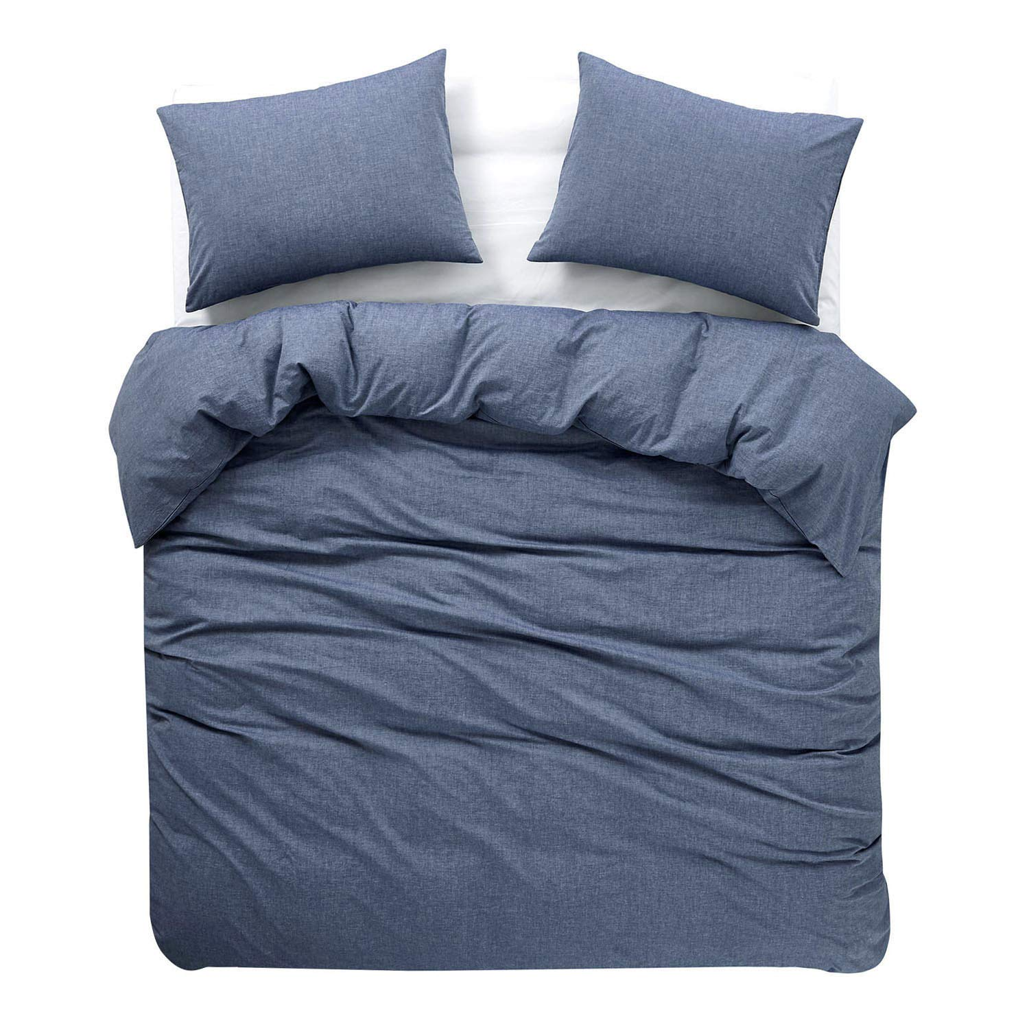 Light Blue Duvet Cover Set 100/% Washed Cotton Yarn Dyed Plain Solid Color Soft Bedding with Zipper Closure Corner Ties 3pcs, Twin Size Wake In Cloud