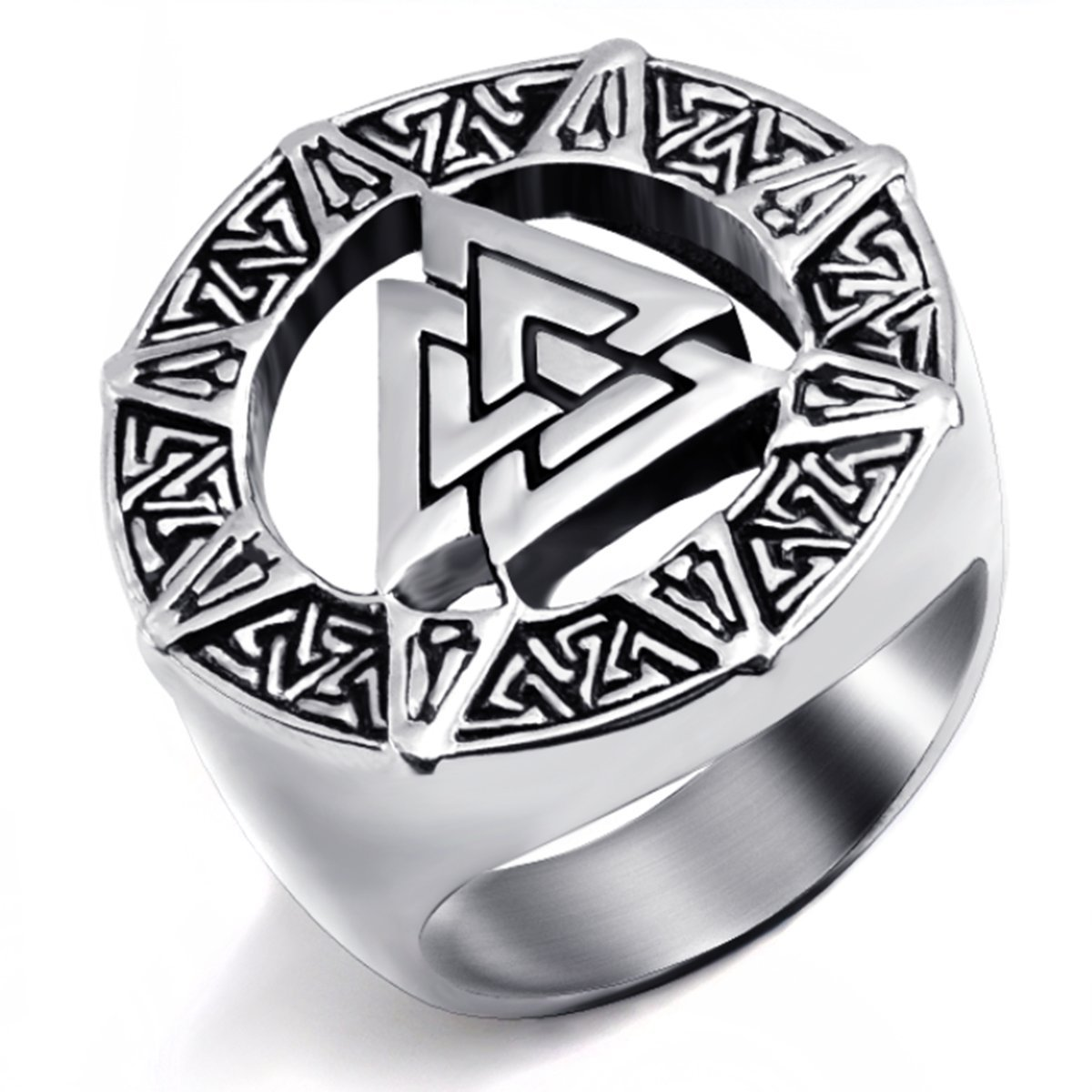Elfasio Mens Stainless Steel Ring Band Valknut Scandinavn Odin Symbol Norse Viking Biker Jewelry Size 8-14 (10)