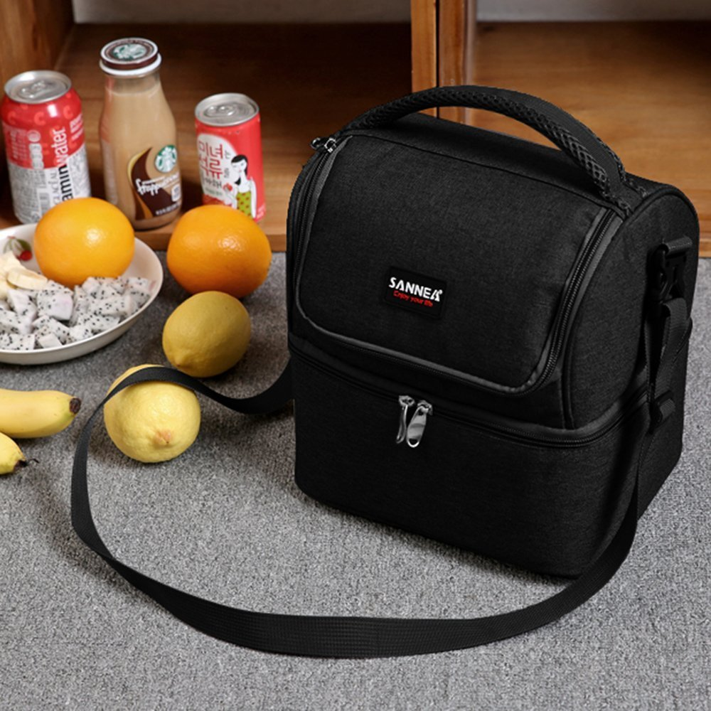 True Holiday Large Picnic Insulated Lunch Bag Box Waterproof Lunch Cooler Bag for Men Women Black