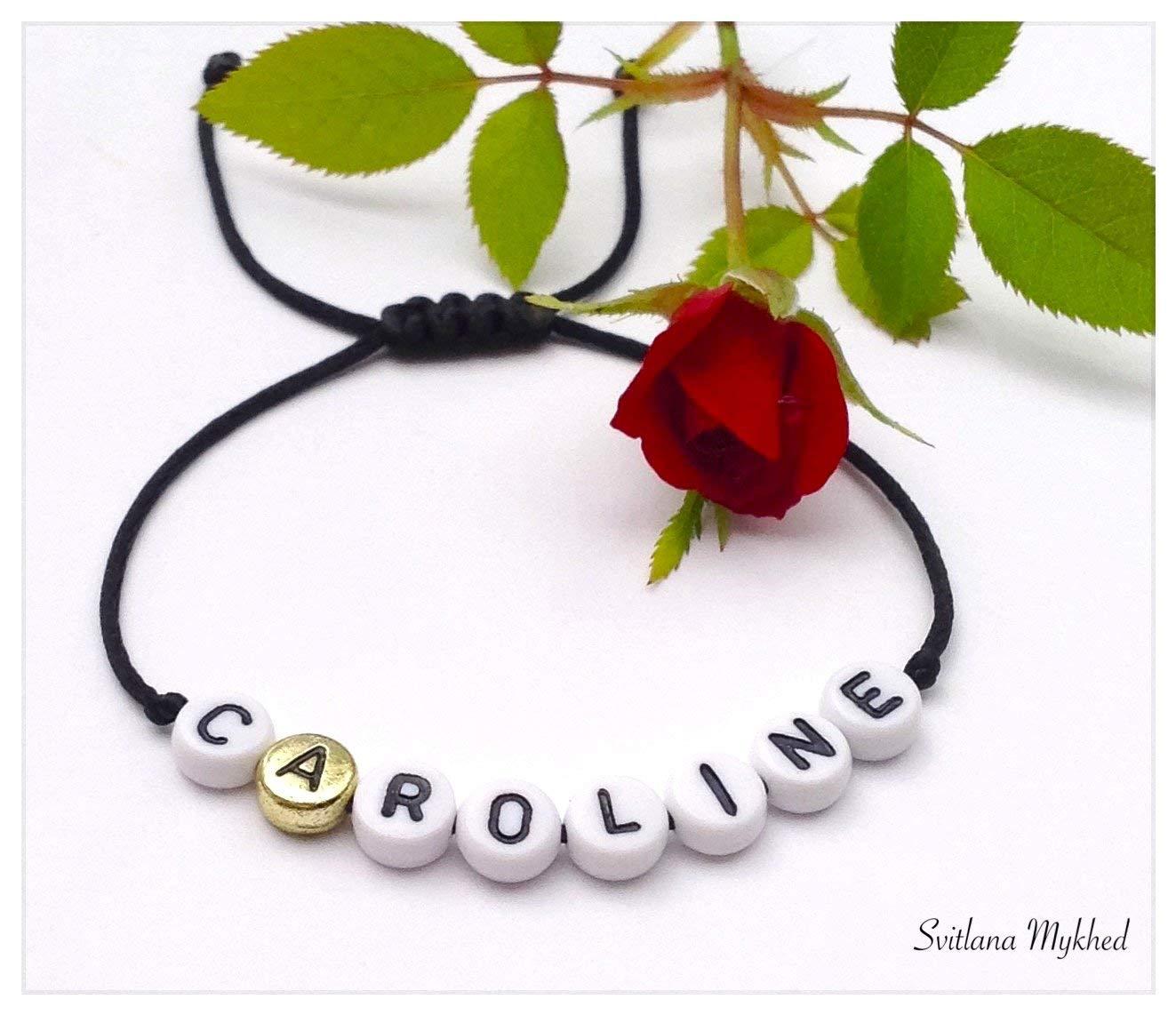 iniziale logo CAROLINE messaggio Bracciale personalizzabile CAROLINE con nome reversibile donna bambino neonato uomo