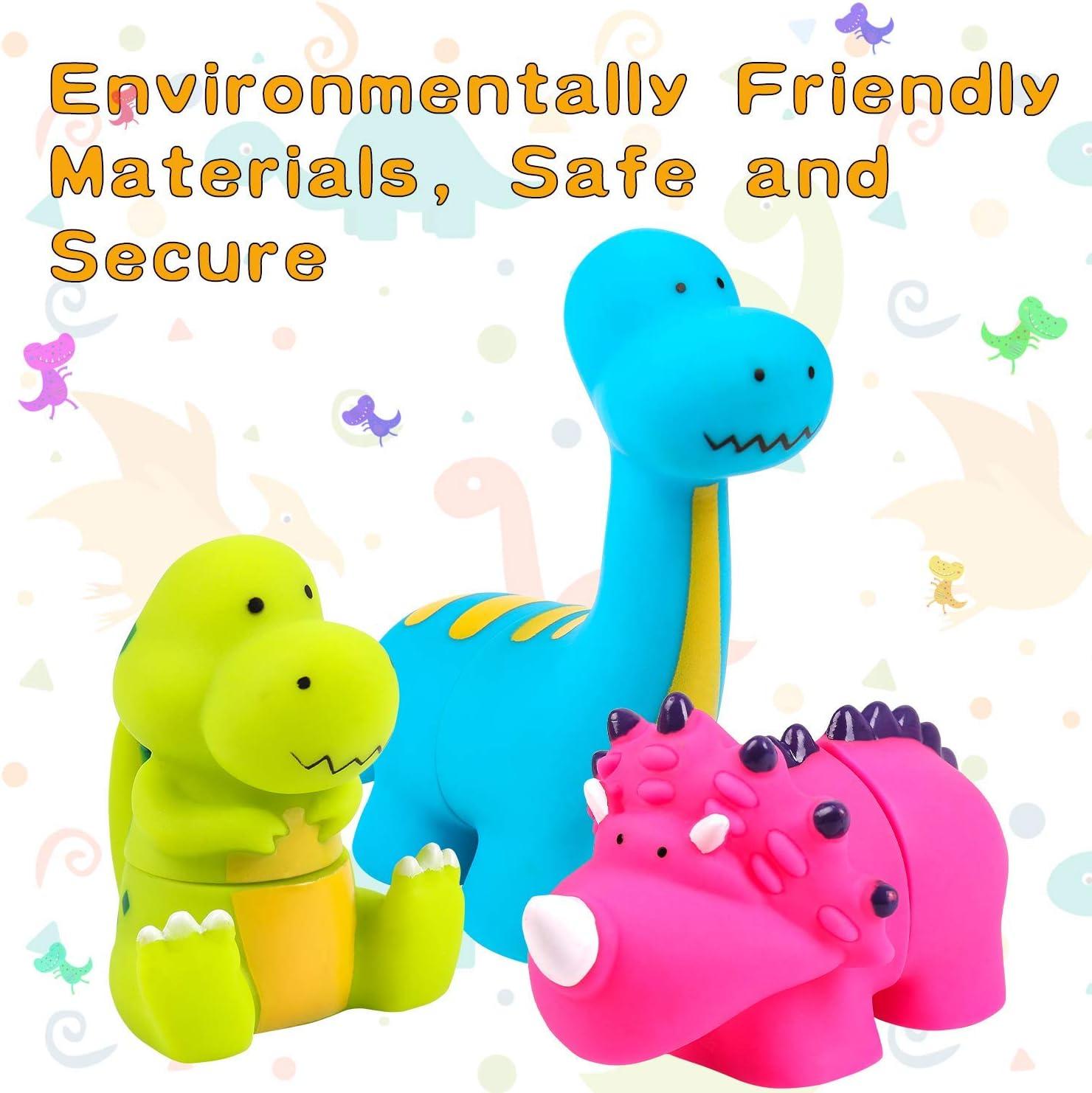 iwobi 5 pezzi Dinosauro Giocattoli da Bagno in Gomma,Giocattoli di Dinosauro Piscina Bagno Giocattoli per Bambini