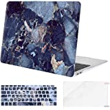 جراب MOSISO MacBook Air 13 بوصة 2018 إصدار A1932 مع شاشة ريتينا وغطاء بلاستيك صلب وغطاء لوحة مفاتيح وواقي شاشة فقط متوافق مع أحدث MacBook Air 13 ورخام أزرق داكن