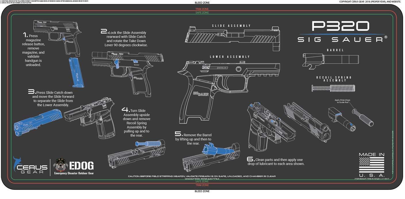 EDOG Sig Sauer P320 Cerus Instuctional Step by Step Gun Cleaning Mat & Black Hard Stone Hot Shot High Vis Handgun Pistol Range Duty Bag & 27 Pc Hand Gun Range/Field Cleaning Kit by EDOG (Image #2)