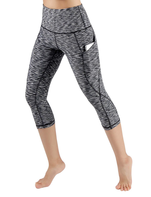 ODODOS High Waist Out Pocket Yoga Capris Pants Tummy Control Workout Running 4 Way Stretch Yoga Leggings,SpaceDyeBlack,X-Small