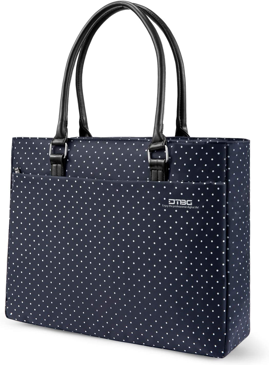 DTBG Laptop Tote Bag, 15.6 Inch Women Shoulder Bag Nylon Briefcase Casual Handbag Laptop Case for 15-15.11 Inch Tablet/Ultra-Book/MacBook/Chromebook (Blue+White Dot)