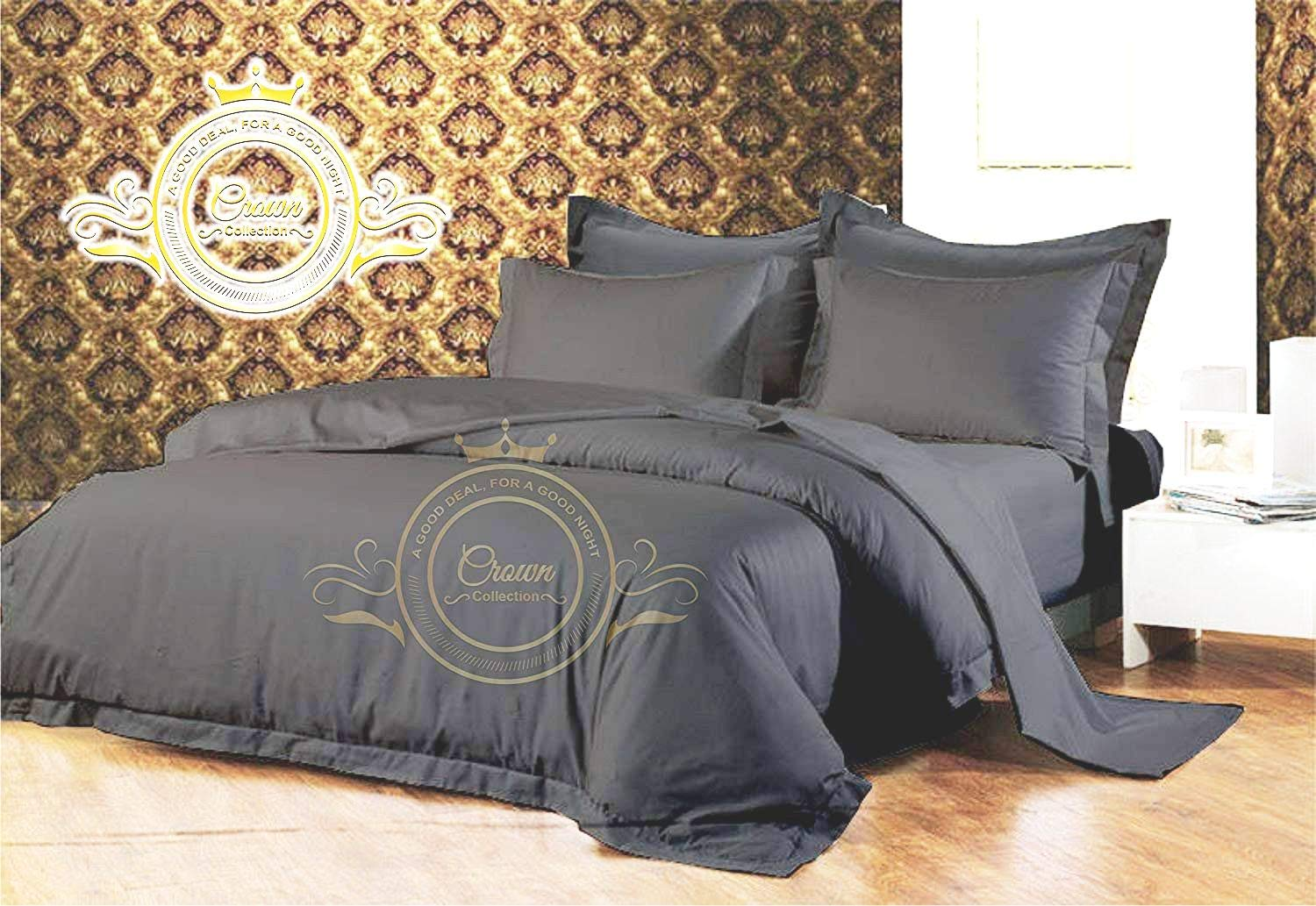 Crown Royal Hotel Collection Export Quality 850 Thread Count Egyptian Cotton Queen Size Duvet Cover/Dona Cover with Zipper Closer Dark Gray Solid