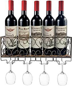 Stegodon Wall Mounted Metal Wine Rack Wine Bottle Storage with 4 Glass Holders for Home, Kitchen Decor,Brown