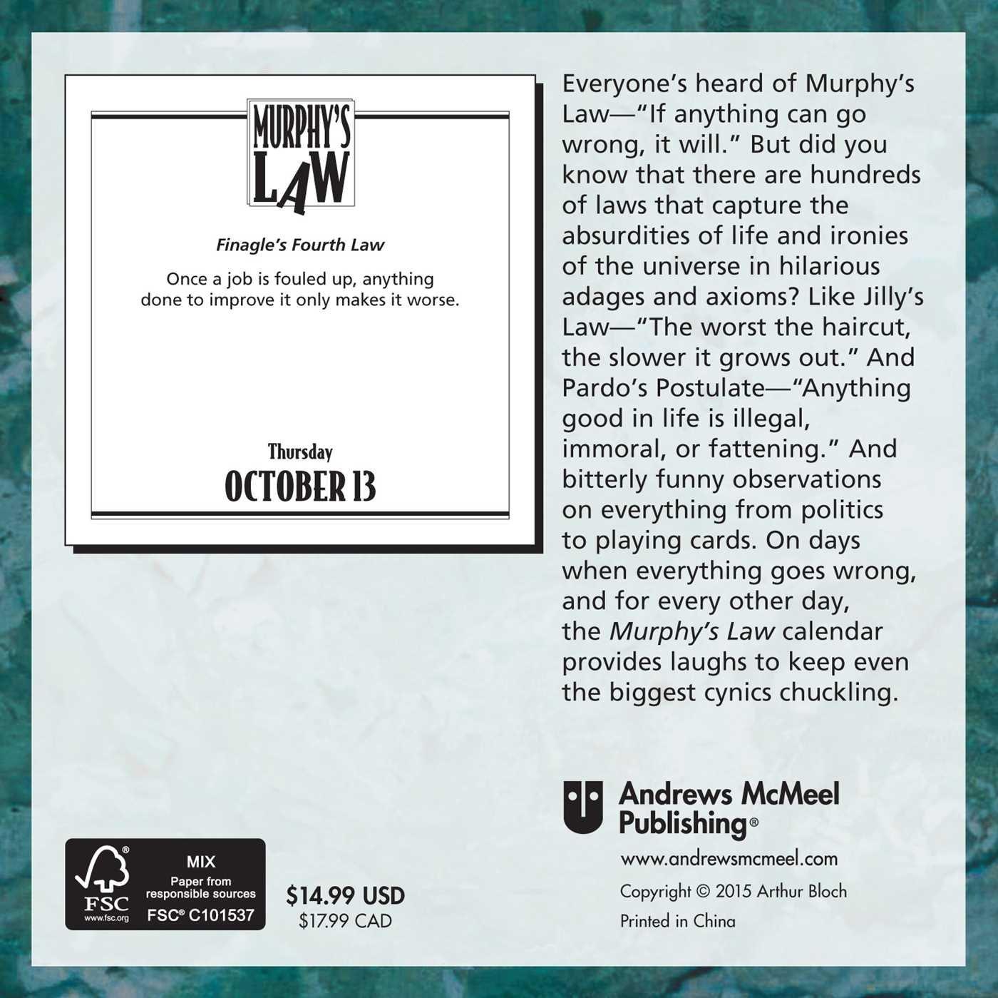 Murphy's Law 2016 Day-to-Day Calendar: Arthur Bloch: 0050837342323:  Amazon.com: Books