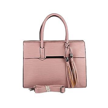 d396b41c449ab OBC DAMEN TASCHE HANDTASCHE HENKELTASCHE Schultertasche Umhängetasche  Businesstasche Shopper Workbag (Altrosa)