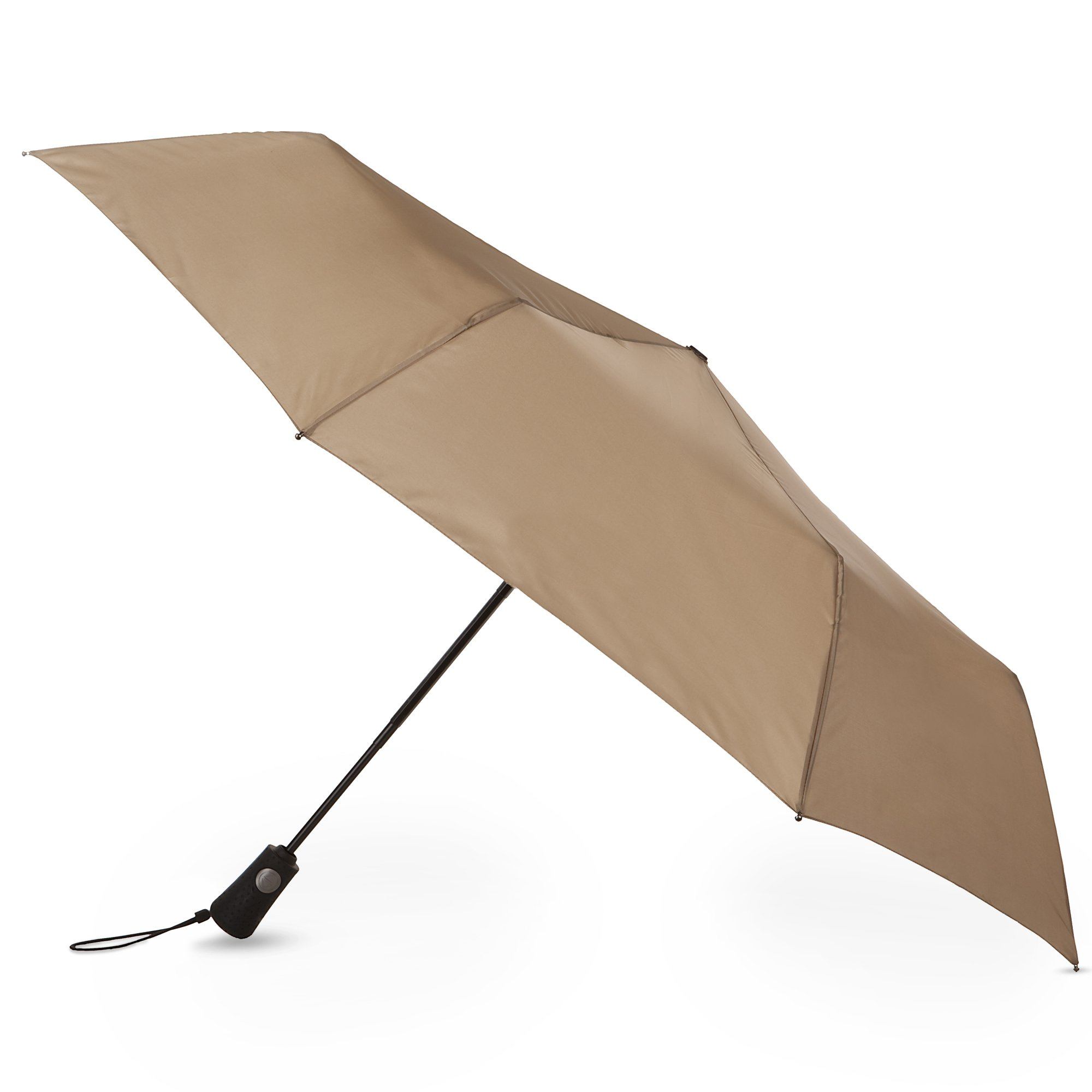 Totes Blue Line Basic  Auto Open Auto Close  Compact Umbrella, British Tan, One Size