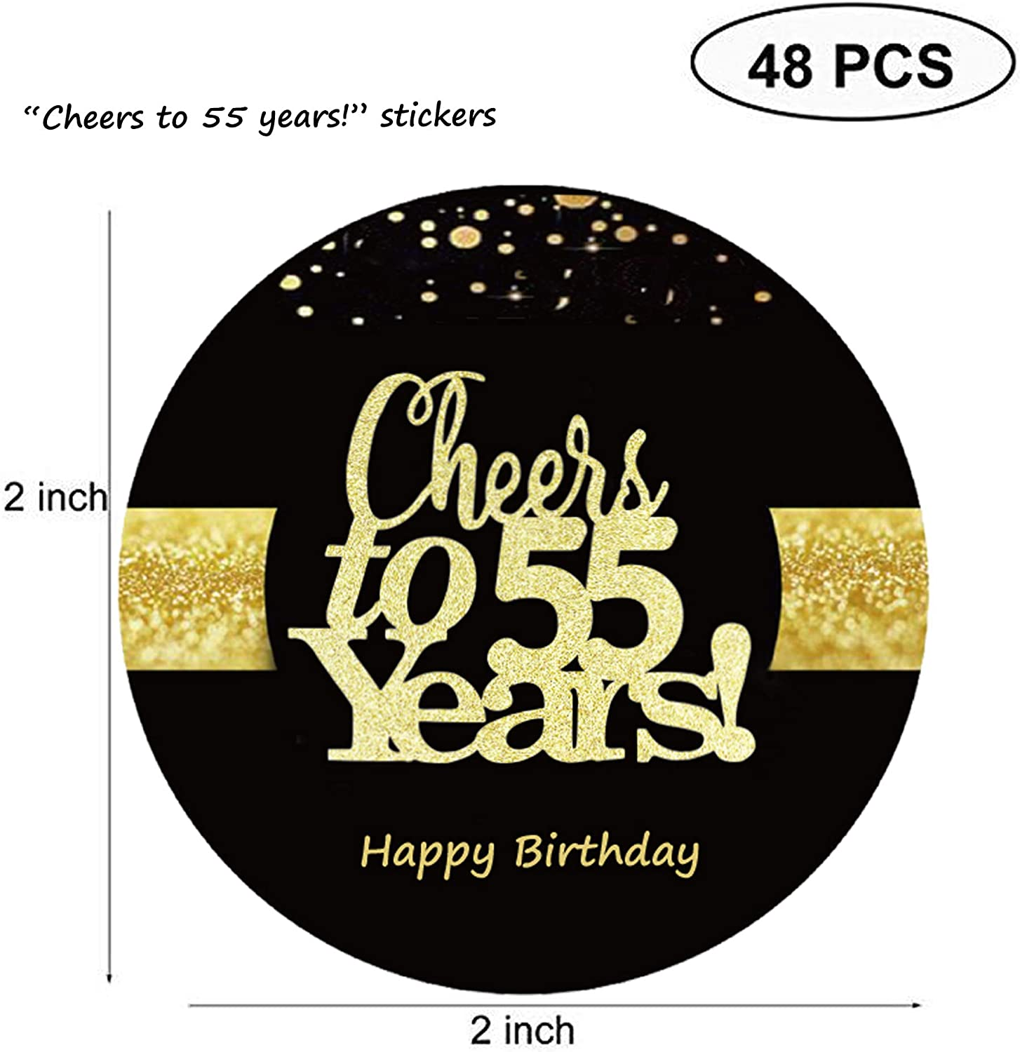 Sumerk 48 PCS Cheers to 55 Years Stickers Large Bottle Stickers 55th Birthday Stickers Card Seals 2 INCHES Round Happy Birthday Party Favors Stickers