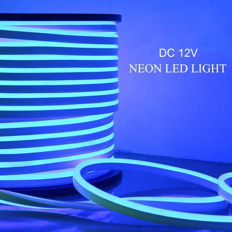 Luz neón LED 5M Luz tira flexible LED azul DC 12V SMD 2835 LED Neon Flex Tube IP65 Impermeable cadena de cuerda, Multi Color Select para el hogar Decoración del Festival vacaciones bricolaje