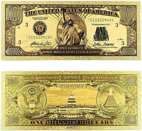 XSWY Papel Moneda US Gold Billetes EE.UU. lámina de Oro de 1 millón de Billete de dólar de Oro del Billete de Banco Nota Colección Hogar Fácil de Usar (Color : B):