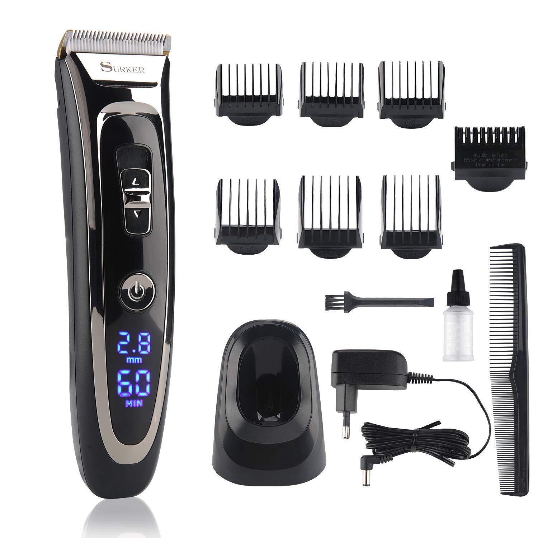 Haarschneidemaschine Herren, Lovebay 11-In-1 Profi Friseur Bart und Haarschneider Set, 28 Längen von 0,8 mm bis 32,8 mm (7 Aufsätze) || Haarschneidegerät für Akku- und Netzbetrieb || Einsetzbar als Haartrimmer mit Keramik-/Titaniumklingen und LCD Power Anz