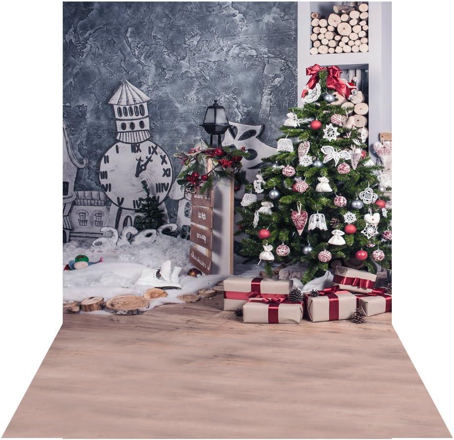 Andoer Tela de fondo de 1.5 * 2 m, tela de fondo de fotografía navideña, adecuada para fotografía / decoración para niños, recién nacidos, mascotas, fiestas navideñas