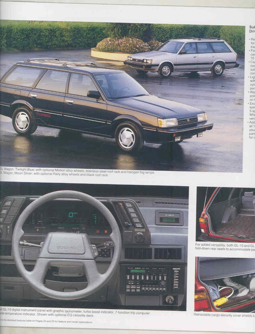 Amazon.com: 1987 Subaru XT Dl GL Wagon Coupe Brat Large Brochure: Entertainment Collectibles