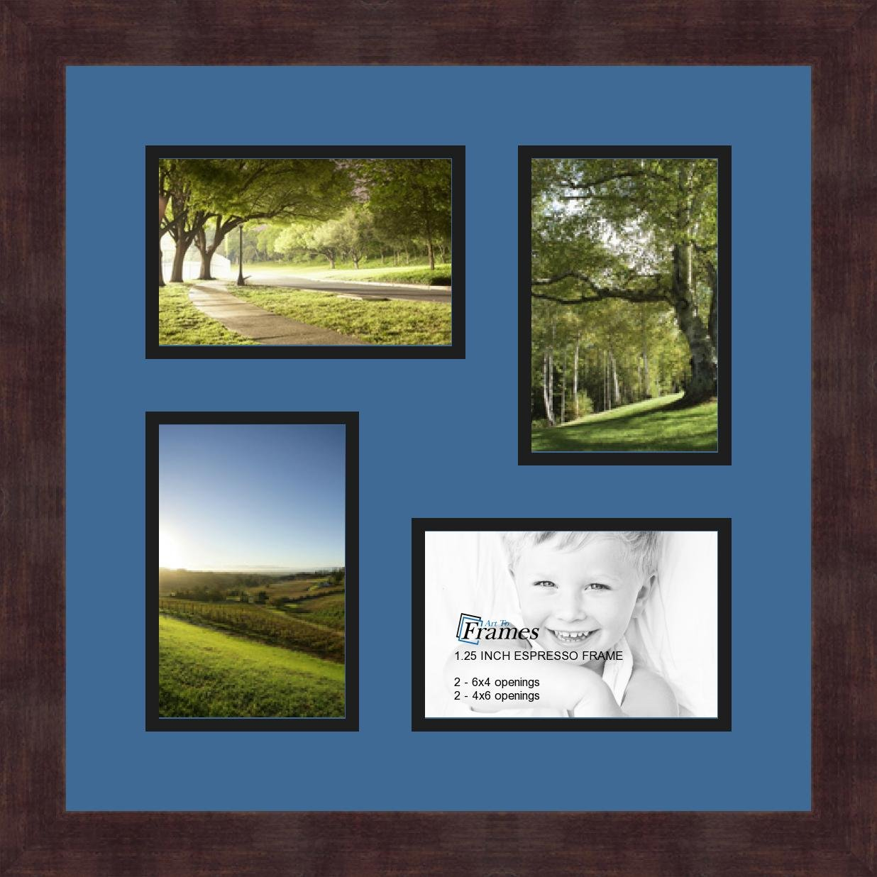 Art to Frames Double-Multimat-178-817//89-FRBW26061 Collage Frame Photo Mat Double Mat with 4-4x6 Openings and Espresso Frame
