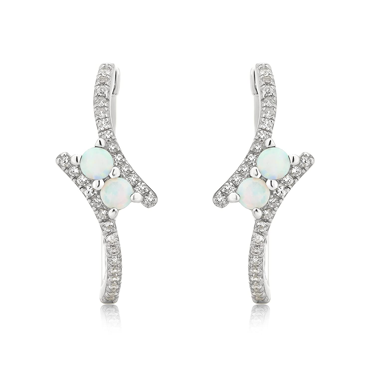 Sterling Silver Opal and White Sapphire Hoop Earring