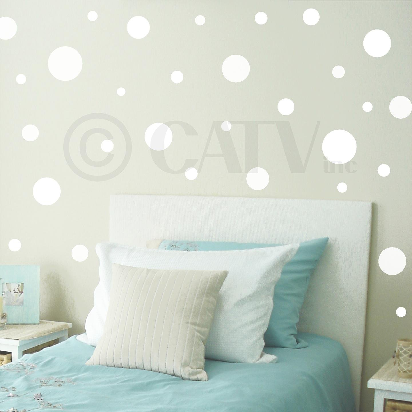 Set of 130 assorted vinyl wall pattern polka dots (White)
