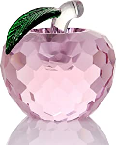 THREE FISH CRYSTAL 60mm (2.4 inch) Crystal Apple Figurines Paperweight,Glass Apple Sculpture Figurines,Christmas Apple Gift,Glass Art Craft for Home Decoration. (Pink)