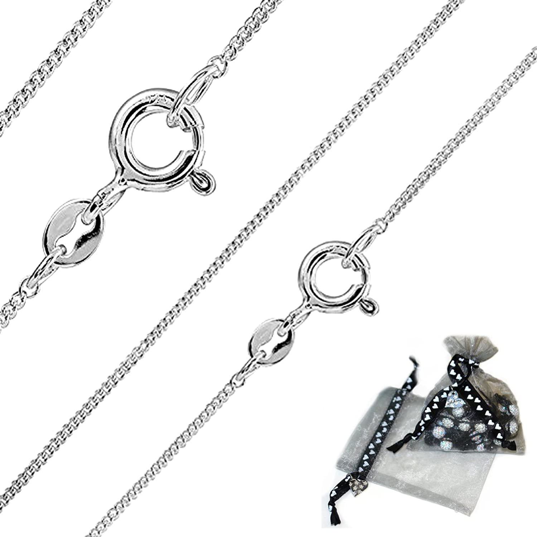 Carolina Meyer Schmuck feine 925 Silber Panzerkette 1mm Damen Halskette Silber in 45//50//55cm verf/ügbar