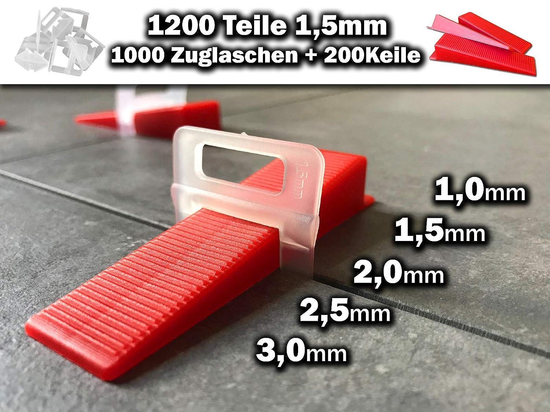 1000 Laschen 200 Keile, 2,5mm 1000 Laschen 200 Keile 2,5mm Das G/ÜNSTIGE Fliesen Nivelliersystem Zange Keile Zuglaschen einzeln oder im Set 1mm 1,5mm 2mm 2,5mm 3mm Mega-Auswahl an Variationen
