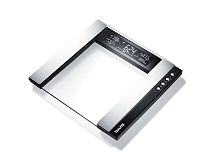 Beurer BG 55 - Báscula de baño diagnóstica de vidrio, pantalla LCD 2 líneas,