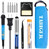 TABIGER Soldering Iron Kit Electronics 60W Adjustable Temperature Welding Tool with 5pcs Soldering Iron Tips, Soldering Iron Stand, Desoldering Pump, Solder Wire and Portable Carry Bag (Tamaño: Medium)